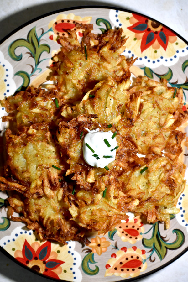 a pile of latkes on the gypsy plate