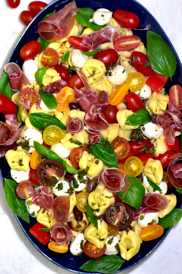a zoomed out view of our salad on a blue platter