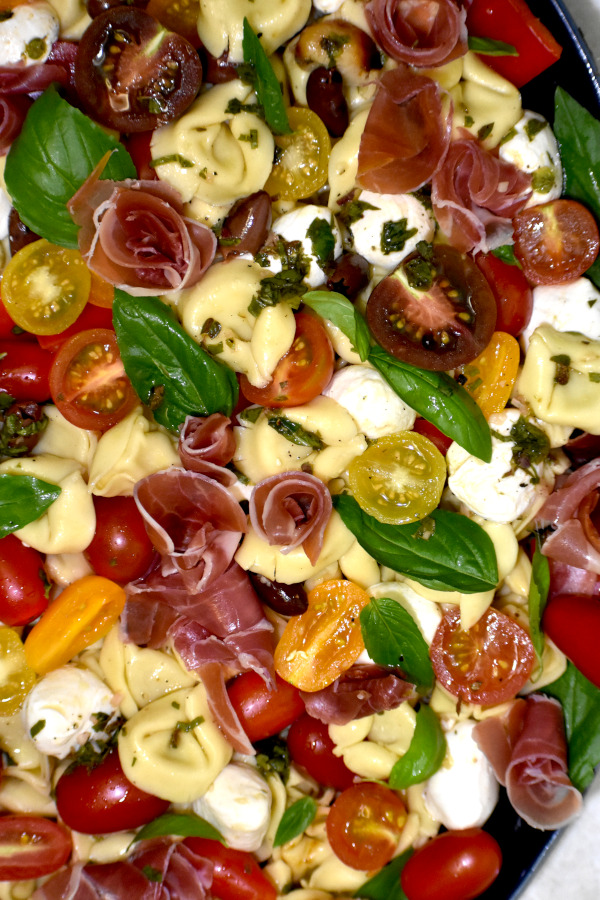 a nice platter of our tortellini pasta salad