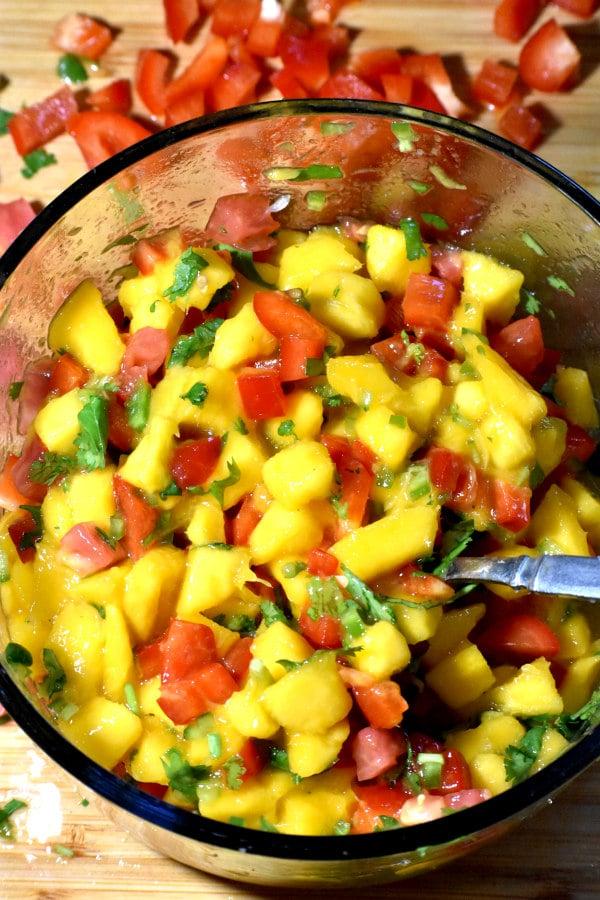 a bowl of mango salsa