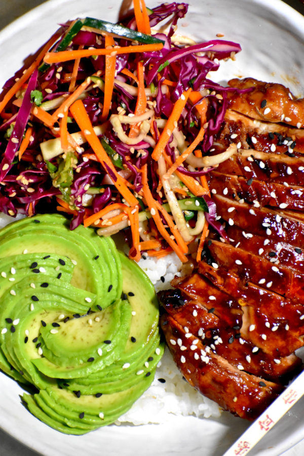Close up of one of these tasty teriyaki chicken bowls.