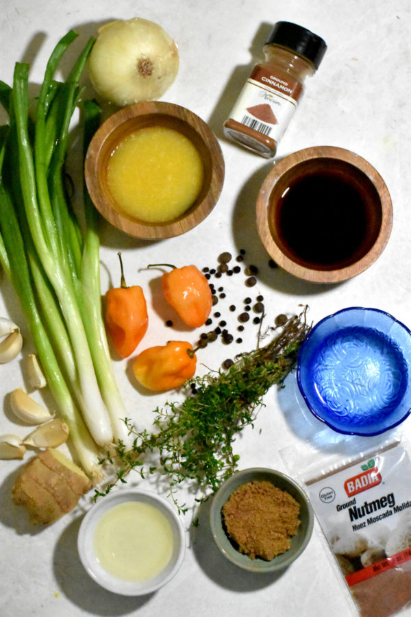 Overhead shot of the ingredients for this recipe on a white background.