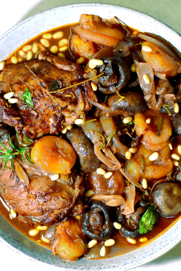a big bowlful of mediterranean braised chicken with apricots
