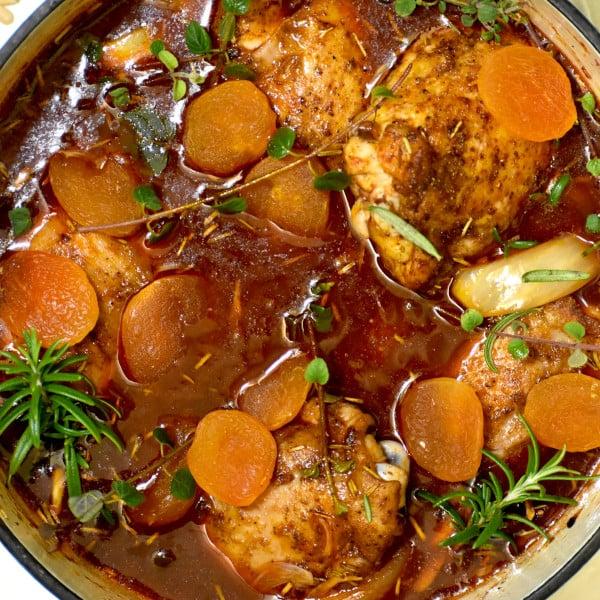 Mediterranean Braised Chicken with Apricots