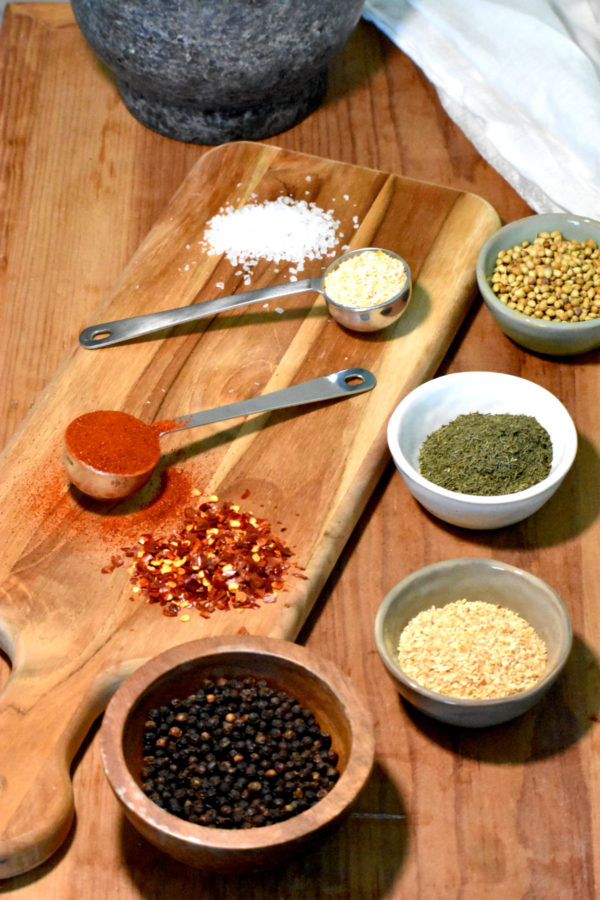 our ingredients in bowls, spoons and in little piles