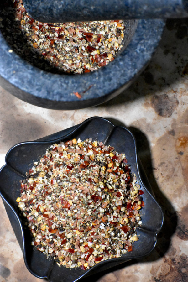 some of this delicious seasoning  in a metal bowl