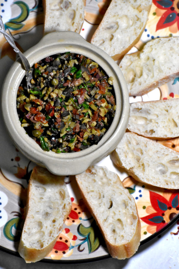 A little bowl of our olive tapenade on the Gypsy Plate.