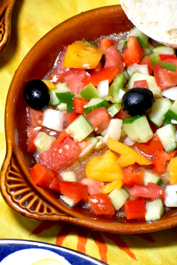 a small dish of our spanish salad