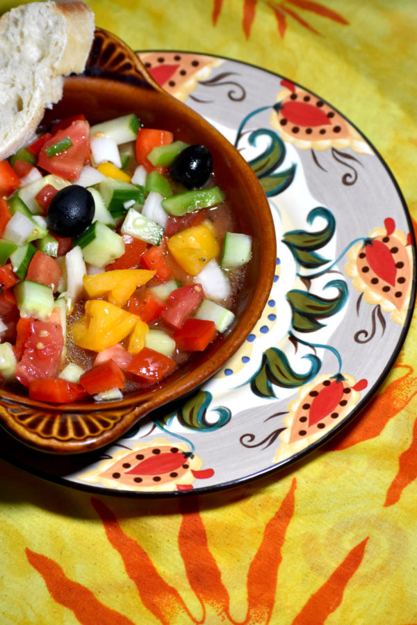 a little bowl of pipirrana on the gypsy plate