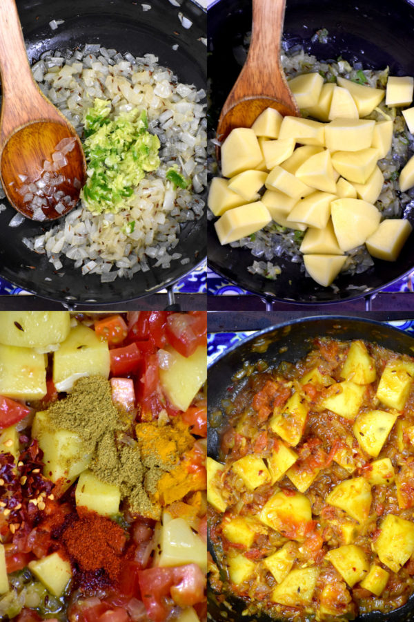 Collage of four images depicting the steps to make aloo palak.
