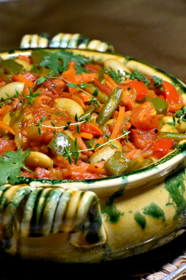 Side view of our bowlful of chakalaka.