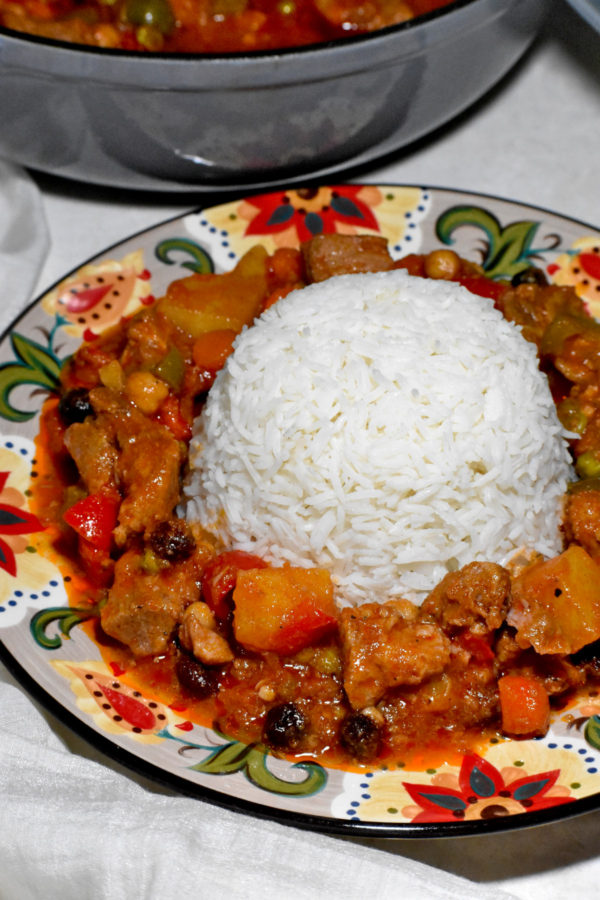 A ring of menudo circling a big pile of rice on the Gypsy Plate.