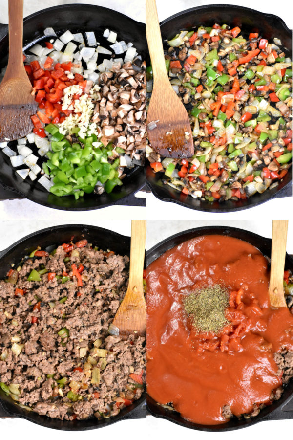 Collage of four images depicting various steps, all in a cast iron skillet: raw veggies, cooked veggies, cooked meat and veggies, and finally tomatoes and herbs added in.