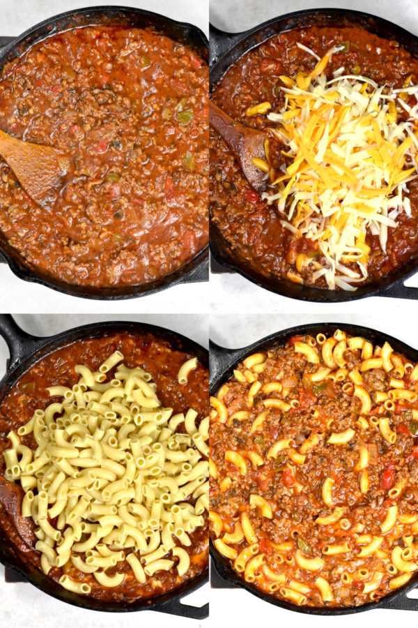 Collage of four images depicting various steps, all in a cast iron skillet: the tomato meat sauce, cheese added in, noodles added in, and finally everything mixed together.