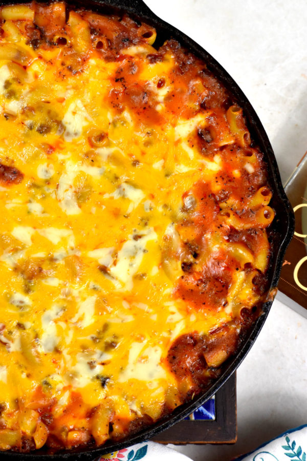 Close up of this classic casserole i a cast iron skillet.