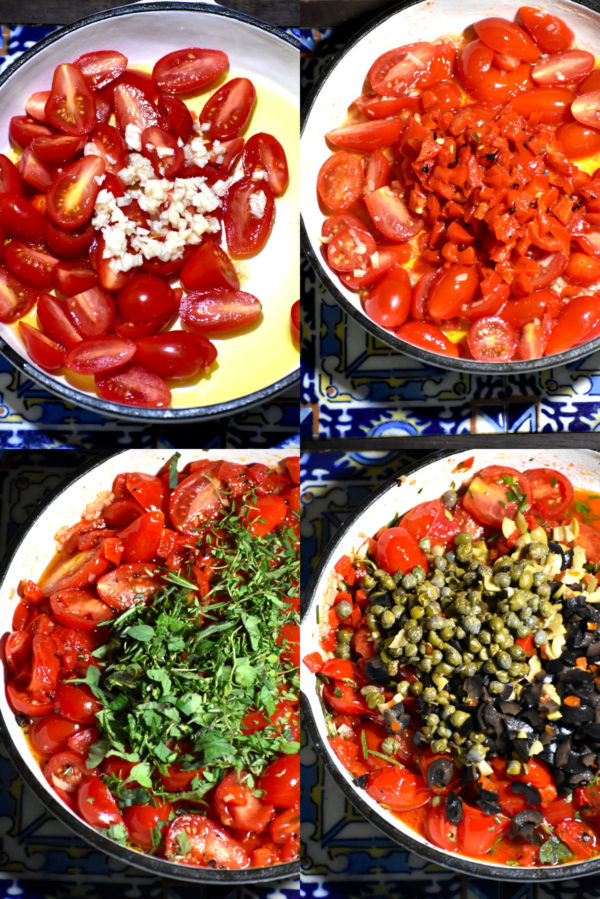 Collage showing above described steps to make tapenade.