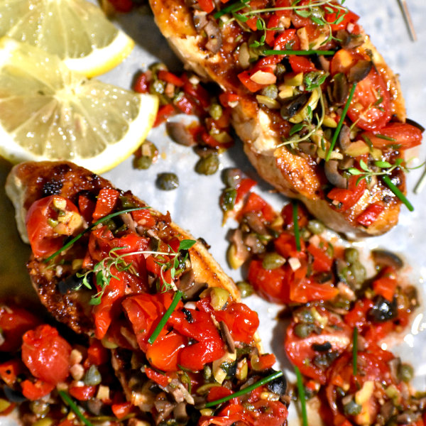 Mediterranean Fish with Tomato and Olive Tapenade