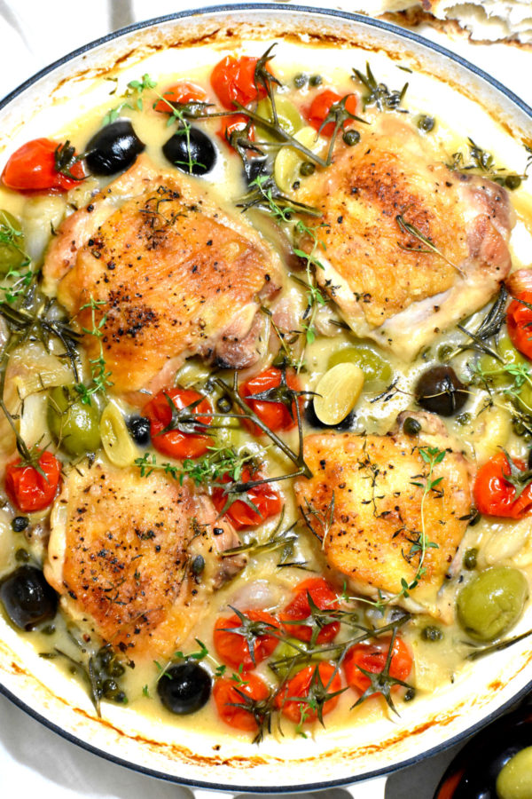 The potful of Chicken Provençal, after baking.