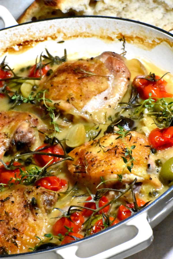 Side view of the pot of Chicken Provençal.
