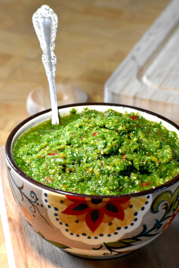 The Gypsy Bowl full of green seasoning.