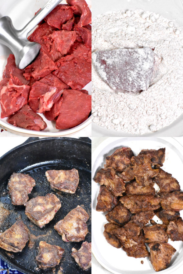 Collage of four images: meat cut into medallions; medallion dredged in flour; cooking in skillet; and removed to a platter.