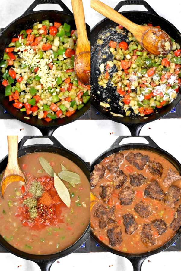 Four image collage: chopped onion, celery and bell pepper in a skillet with garlic added in; flour added in; liquids and spiced mixed in; meat added in.