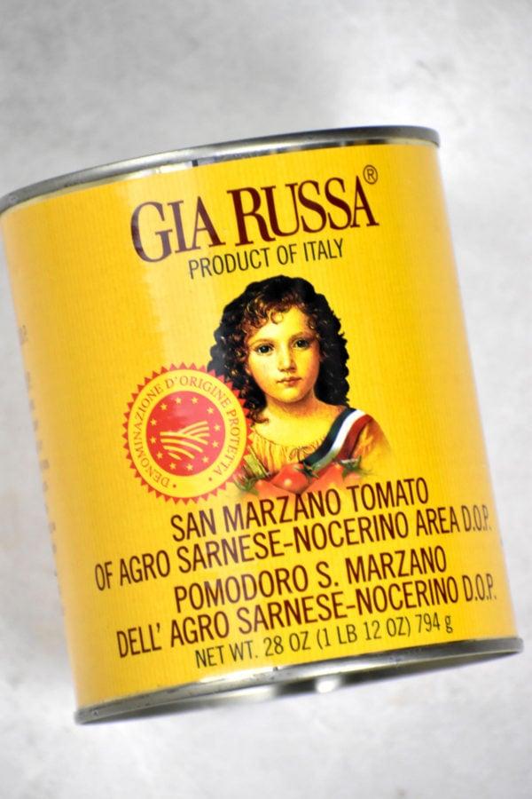 Can of San Marzano tomatoes.
