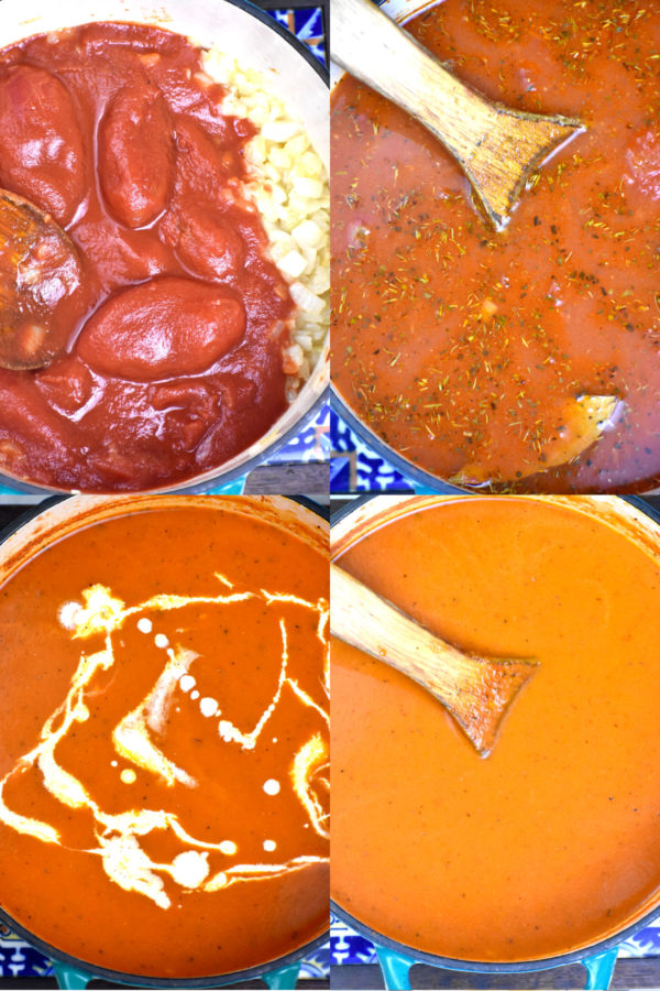 Collage of four pictures showing the below described steps to make our soup.