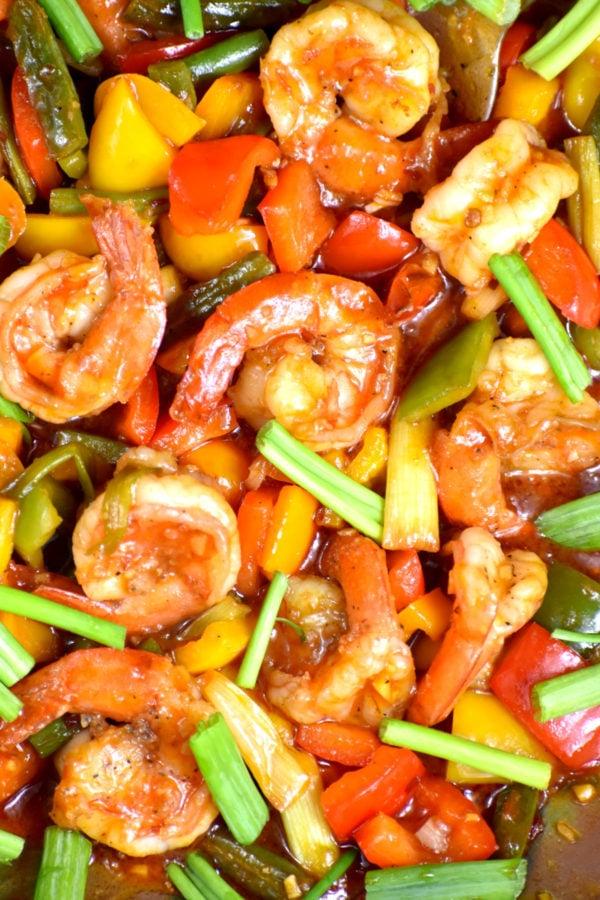 Close up of these stir fried shrimp.