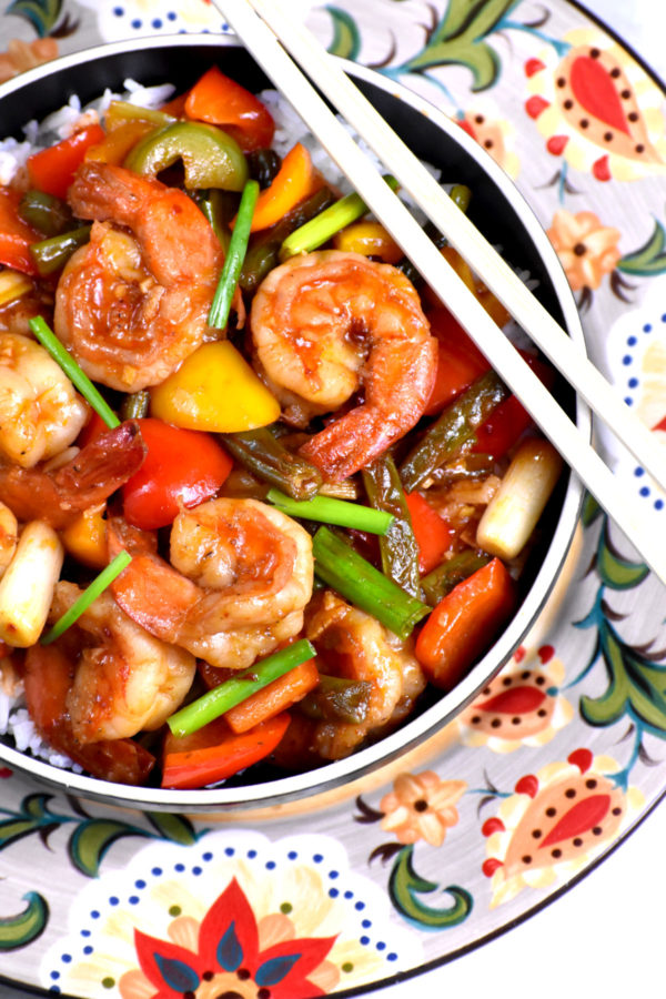 The bowl of Hunan shrimp atop the Gypsy Plate.
