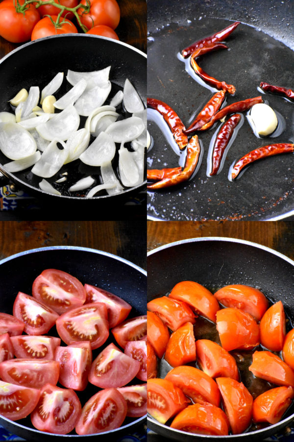Collage of four images showing ingredients cooking in a pan.
