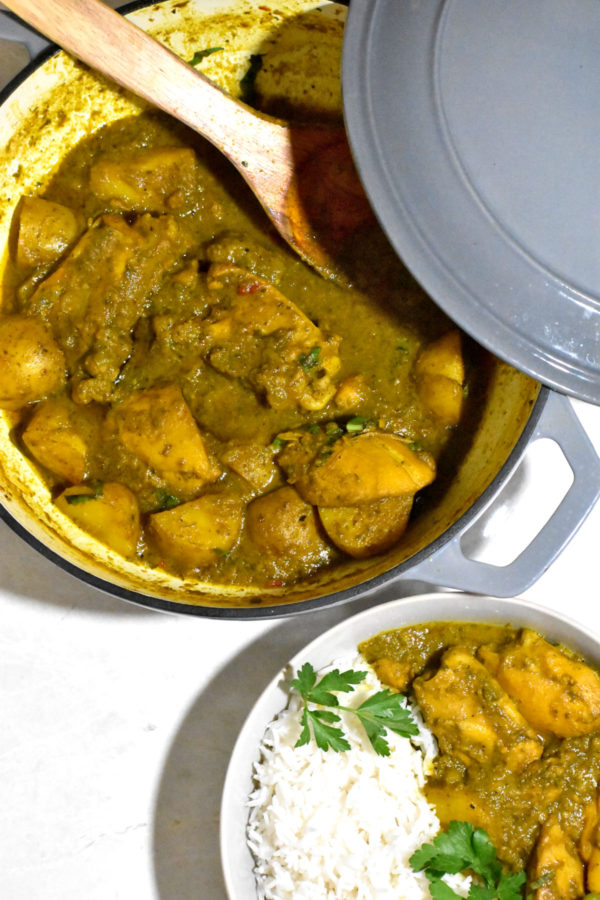 A big pot of curry next to a bowlful of curry and rice.