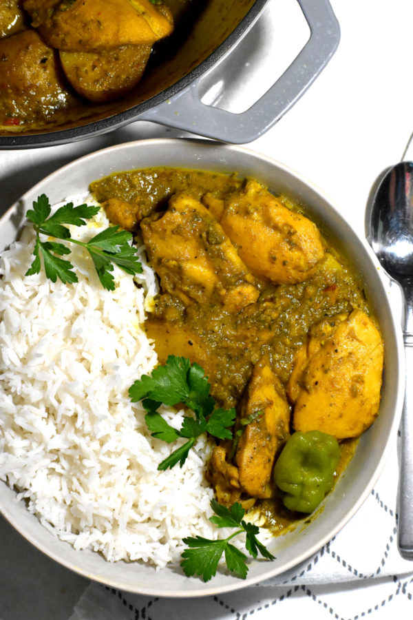 Bowl of curry and rice.