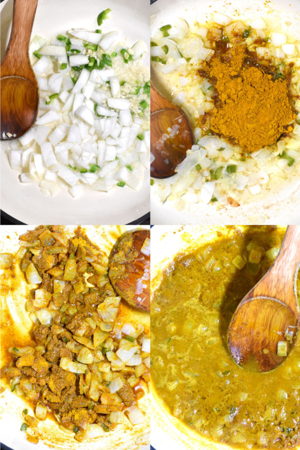 Collage of four images: cooking onions, spice powders added in, everything mixed together, and finally water added in.