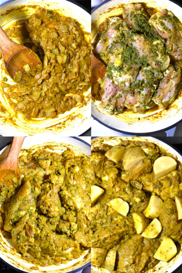 Collage of four images: onion and spice slurry, marinated chicken added in, everything mixed together, and finally potato cubes added in.