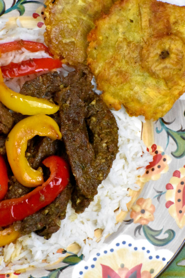Steak, with onions removed and sautéed peppers added, on the Gypsy Plate.
