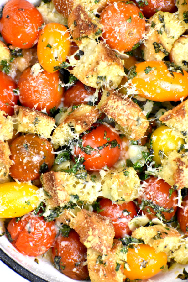 Extreme close up of pretty cherry tomatoes, crispy bread cubes and fresh herbs topped with grated parmesan cheese.