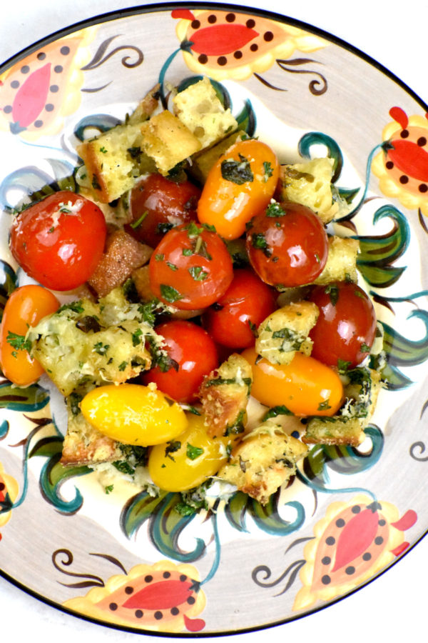 A serving of tomato gratin on the Gypsy Plate.