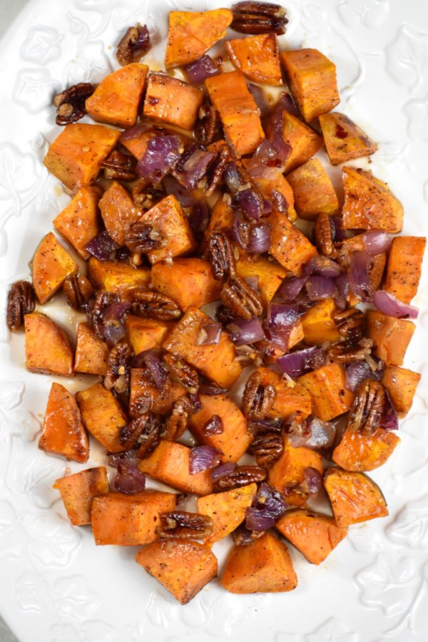 Another picture of the full platter of roasted sweet potatoes.