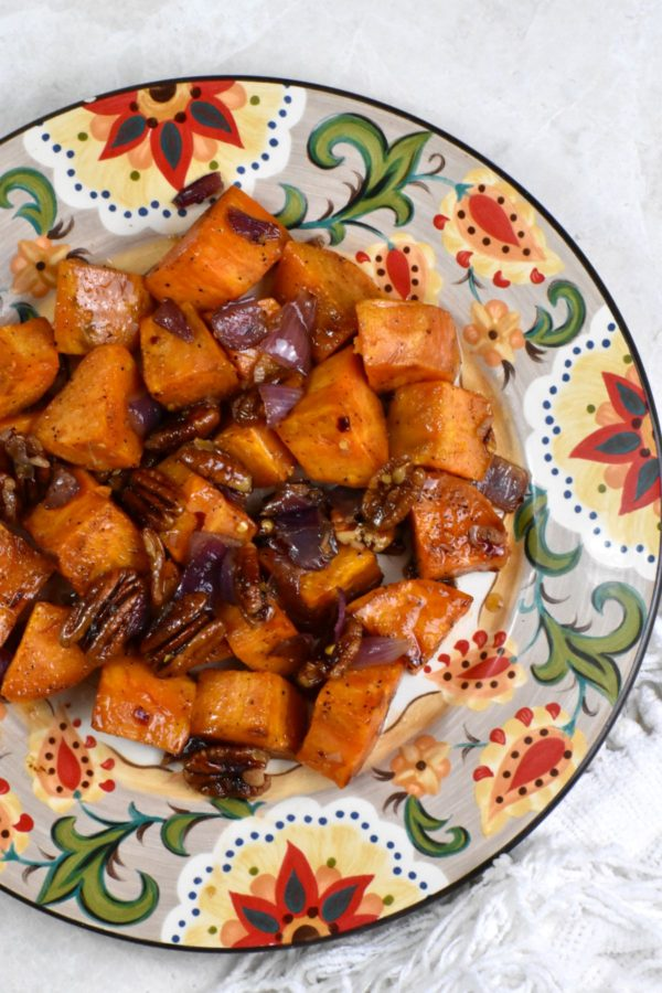 A serving of these chili maple glazed sweet potatoes on the Gypsy Plate.