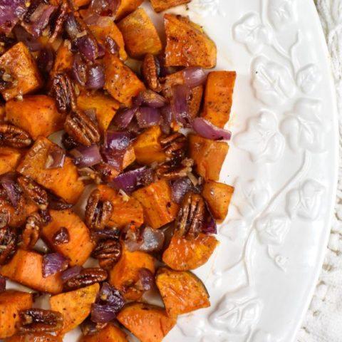 Featured image for Chili Maple Glazed Sweet Potato Post.
