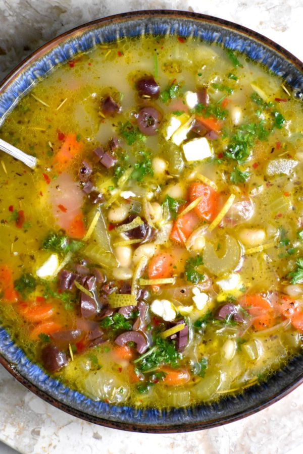 Bowl of another version of this soup, minus the tomatoes but with lots of lemon juice and zest.