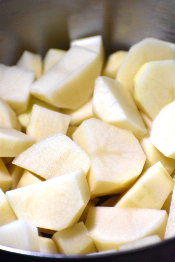 Peeled and cut potatoes.