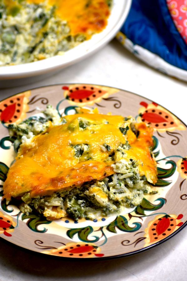A serving of green rice casserole on the Gypsy Plate.