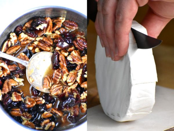 Two picture collage. First the pecans and cranberries cooking in a pan. The second demonstrates how to slice the brie in half horizontally.
