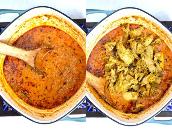 Collage of two pictures: finished masala sauce and then adding in turkey chunks.