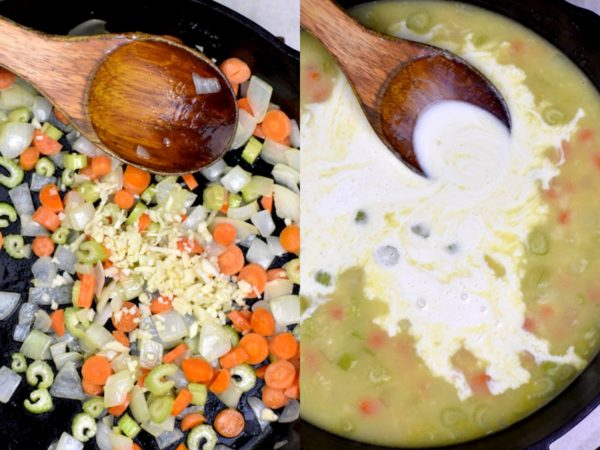 Two picture collage. First showing cooking veggies, the second with broth and cream added.