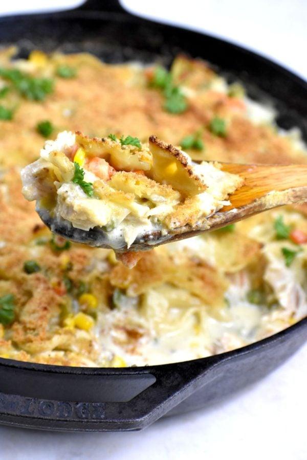 The 35 BEST Leftover Chicken Recipes - crustless pot pie casserole.
