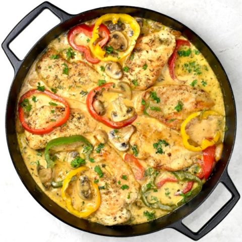 Featured image for Easy Creamy Chicken Skillet post.