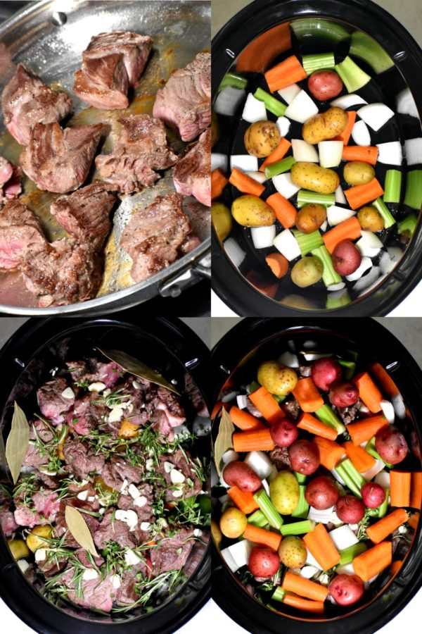 Collage of four images layering the ingredients in the crock pot.